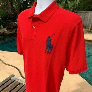 POLO RALPH LAUREN Mens Red Big Pony Polo Shirt